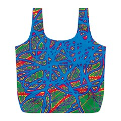 Colorful neon chaos Full Print Recycle Bags (L)