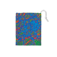 Colorful neon chaos Drawstring Pouches (Small)