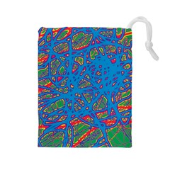 Colorful neon chaos Drawstring Pouches (Large)
