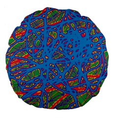Colorful neon chaos Large 18  Premium Flano Round Cushions