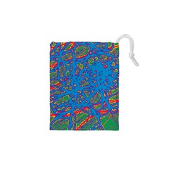 Colorful neon chaos Drawstring Pouches (XS)