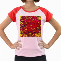 Yellow and red neon design Women s Cap Sleeve T-Shirt