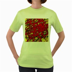 Yellow and red neon design Women s Green T-Shirt