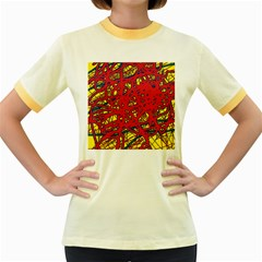 Yellow and red neon design Women s Fitted Ringer T-Shirts