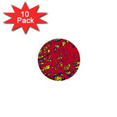Yellow and red neon design 1  Mini Buttons (10 pack)