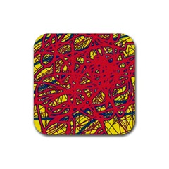 Yellow and red neon design Rubber Coaster (Square)