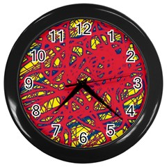 Yellow and red neon design Wall Clocks (Black)