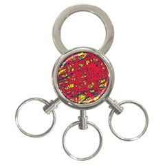 Yellow and red neon design 3-Ring Key Chains