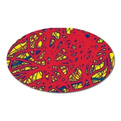 Yellow and red neon design Oval Magnet