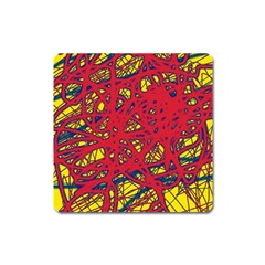 Yellow and red neon design Square Magnet