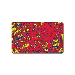 Yellow and red neon design Magnet (Name Card)