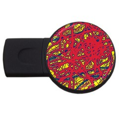 Yellow and red neon design USB Flash Drive Round (1 GB)