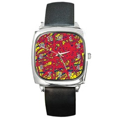 Yellow and red neon design Square Metal Watch