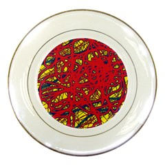 Yellow and red neon design Porcelain Plates