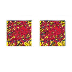 Yellow and red neon design Cufflinks (Square)