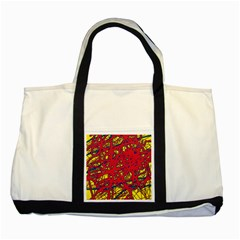 Yellow and red neon design Two Tone Tote Bag