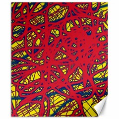 Yellow and red neon design Canvas 8  x 10