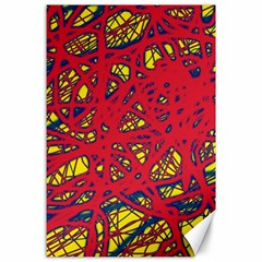 Yellow and red neon design Canvas 24  x 36