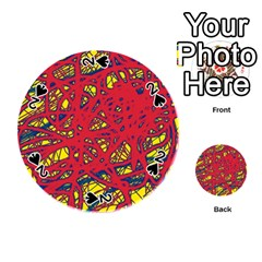 Yellow and red neon design Playing Cards 54 (Round)