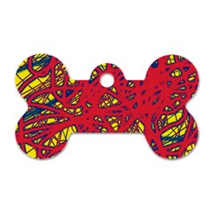 Yellow and red neon design Dog Tag Bone (Two Sides)