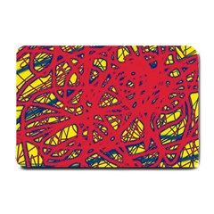 Yellow and red neon design Small Doormat