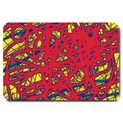 Yellow and red neon design Large Doormat