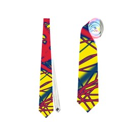 Yellow and red neon design Neckties (Two Side)