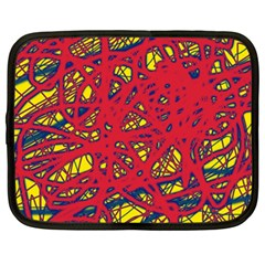 Yellow and red neon design Netbook Case (Large)