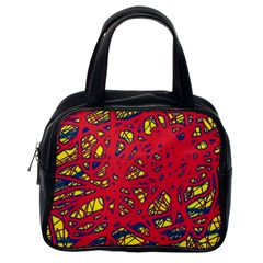 Yellow and red neon design Classic Handbags (One Side)