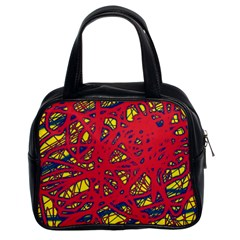 Yellow and red neon design Classic Handbags (2 Sides)