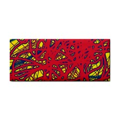 Yellow and red neon design Hand Towel