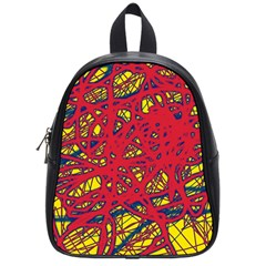 Yellow and red neon design School Bags (Small)