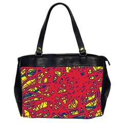Yellow and red neon design Office Handbags (2 Sides)