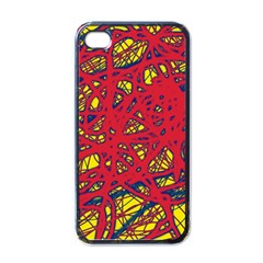 Yellow and red neon design Apple iPhone 4 Case (Black)