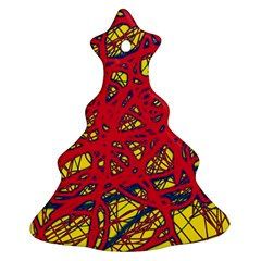 Yellow And Red Neon Design Christmas Tree Ornament (2 Sides)