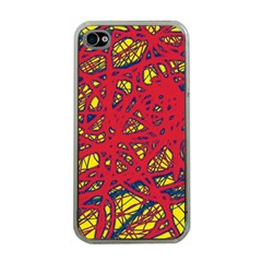 Yellow and red neon design Apple iPhone 4 Case (Clear)