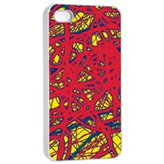 Yellow and red neon design Apple iPhone 4/4s Seamless Case (White)