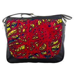 Yellow and red neon design Messenger Bags