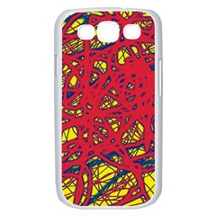 Yellow and red neon design Samsung Galaxy S III Case (White)