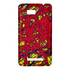 Yellow and red neon design HTC One SU T528W Hardshell Case