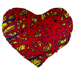 Yellow and red neon design Large 19  Premium Heart Shape Cushions