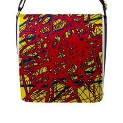 Yellow and red neon design Flap Messenger Bag (L)