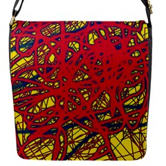 Yellow and red neon design Flap Messenger Bag (S)