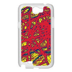 Yellow and red neon design Samsung Galaxy Note 2 Case (White)