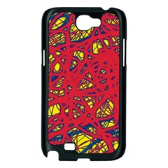 Yellow and red neon design Samsung Galaxy Note 2 Case (Black)