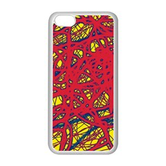 Yellow and red neon design Apple iPhone 5C Seamless Case (White)