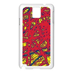 Yellow and red neon design Samsung Galaxy Note 3 N9005 Case (White)