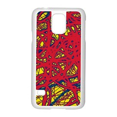 Yellow and red neon design Samsung Galaxy S5 Case (White)