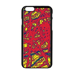 Yellow and red neon design Apple iPhone 6/6S Black Enamel Case