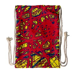 Yellow and red neon design Drawstring Bag (Large)